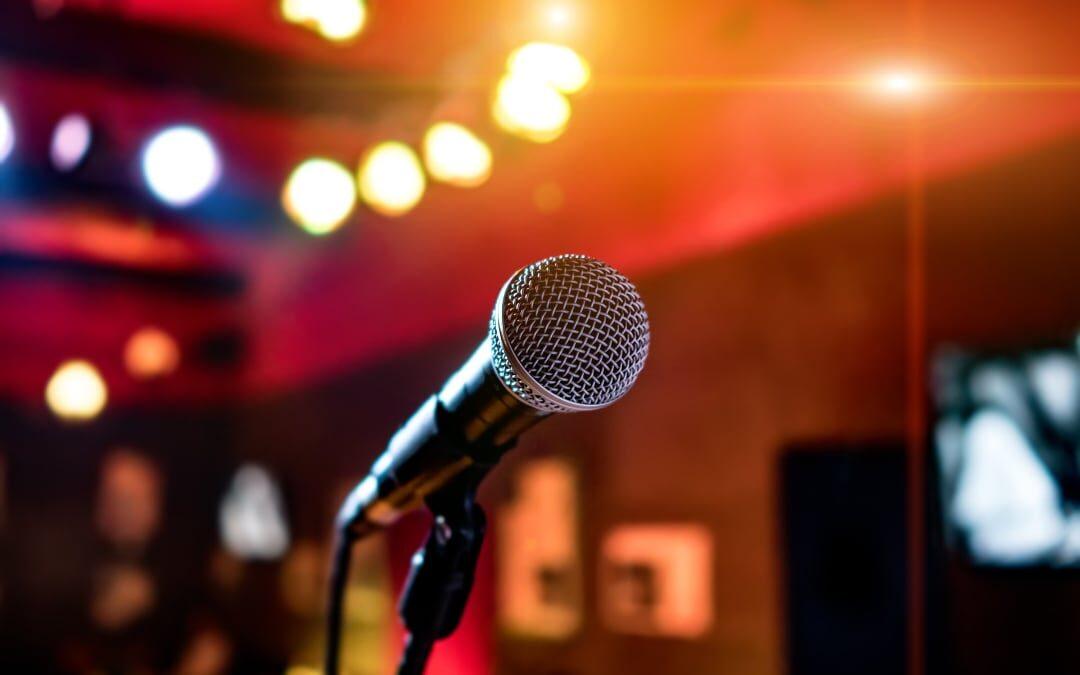 Microphone on a karaoke show